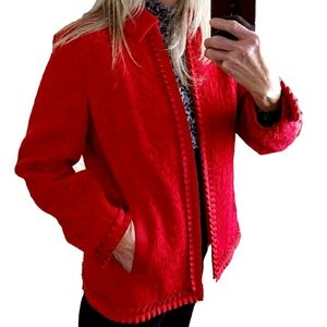 Coldwater Creek Red Decorative Ruffle Accent Jackt
